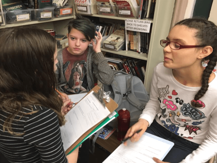 students discuss writing