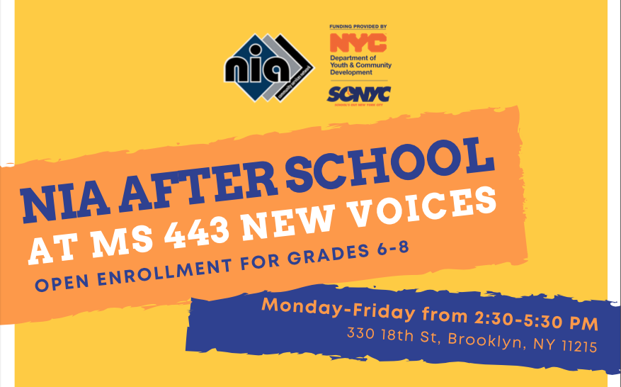 NIA After School Enrollment Flyer - M-F from 2:30-5:30pm
